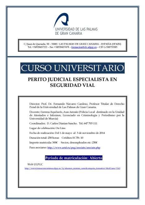 CURSO PERITO SEGURIDAD VIAL